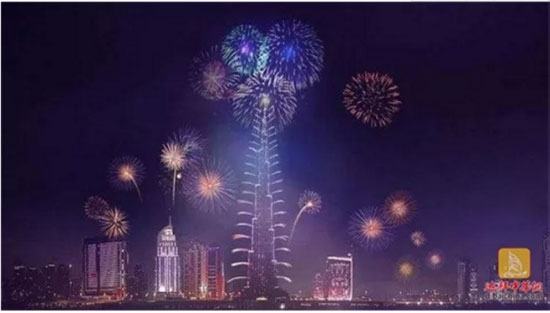 the dazzling light show on burj khalifa tower in dubai xcmg people who work overseas are giving new year greetings